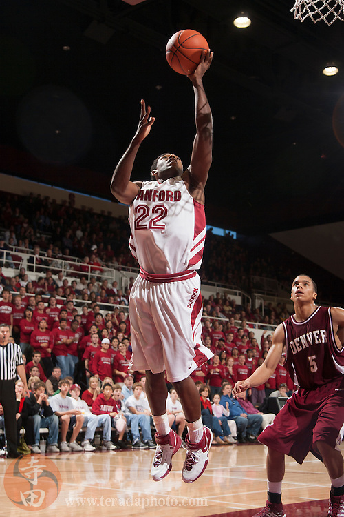 November 25, 2006; Stanford, CA, USA; Stanford Cardinal guard guard Kenny Brown (22) shoots a layup during the game against the Denver Pioneers at Maples Pavilion. The Cardinal defeated the Pioneers 82-39.