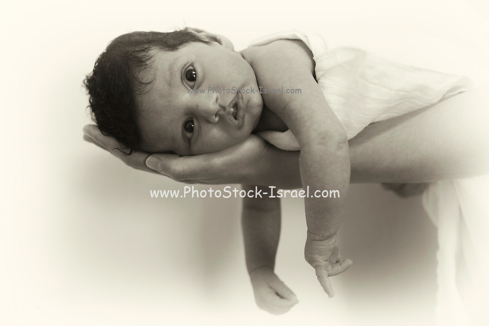 Small resting on his fathers outstretched arms. Model Release Available