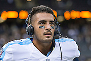 NEW ORLEANS, LA - NOVEMBER 8:  Marcus Mariota #8 of the Tennessee Titans talks to TV after a game against the New Orleans Saints at Mercedes-Benz Superdome on November 8, 2015 in New Orleans, Louisiana.  The Titans defeated the Saints in overtime 34-28.  (Photo by Wesley Hitt/Getty Images) *** Local Caption *** Marcus Mariota