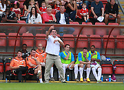 Barnet Manager, Martin Allen issues instructions from the touchline during the Sky Bet League 2 match between Leyton Orient and Barnet at the Matchroom Stadium, London, England on 8 August 2015. Photo by Bennett Dean.