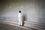 A worker cleans the wall that contains the names of hundreds of fallen soldiers that died during the First and Second World War engraved on the memorial wall. Faubourg D'Amiens cemetery is the burial site of 2678 identified casualties and a memorial to thousands more from the First and Second World War.  It is looked after and managed by the Commonwealth War Graves Commission in the town of Arras, France. (photo by Andrew Aitchison / In pictures via Getty Images)