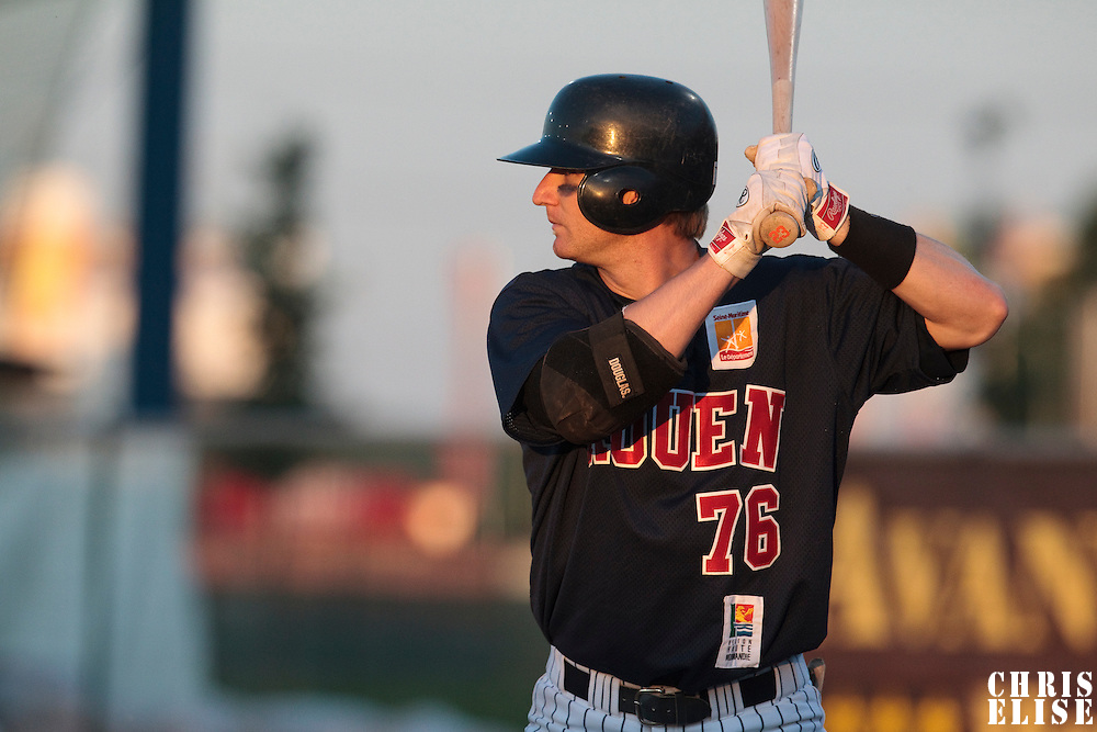 06 June 2010: Aaron Hornostaj of Rouen is seen at bat during the 2010 Baseball European Cup match won 10-8 by the Rouen Huskies over AVG Draci Brno, at the AVG Arena, in Brno, Czech Republic.