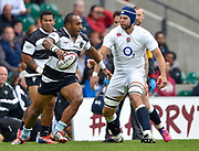 Barbarians centre Joe Rokocoko (Bayonne & New Zealand) tries to set around England No.8 Josh Beaumont (Sale Sharks) during the International Rugby Union match England XV -V- Barbarians at Twickenham Stadium, London, Greater London, England on May  31  2015. (Steve Flynn/Image of Sport)