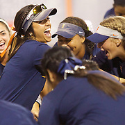 November 4th, 2016; Fullerton, California, USA; The Cal State Fullerton softball team starts a pre-game chant before their game against Vanguard College. (Eric Cech, Sports Shooter Academy)
