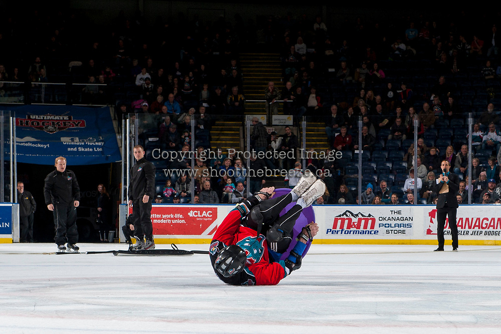 KELOWNA, CANADA - JANUARY 3: London Drugs human bowling on January 3, 2017 at Prospera Place in Kelowna, British Columbia, Canada.  (Photo by Marissa Baecker/Shoot the Breeze)  *** Local Caption ***