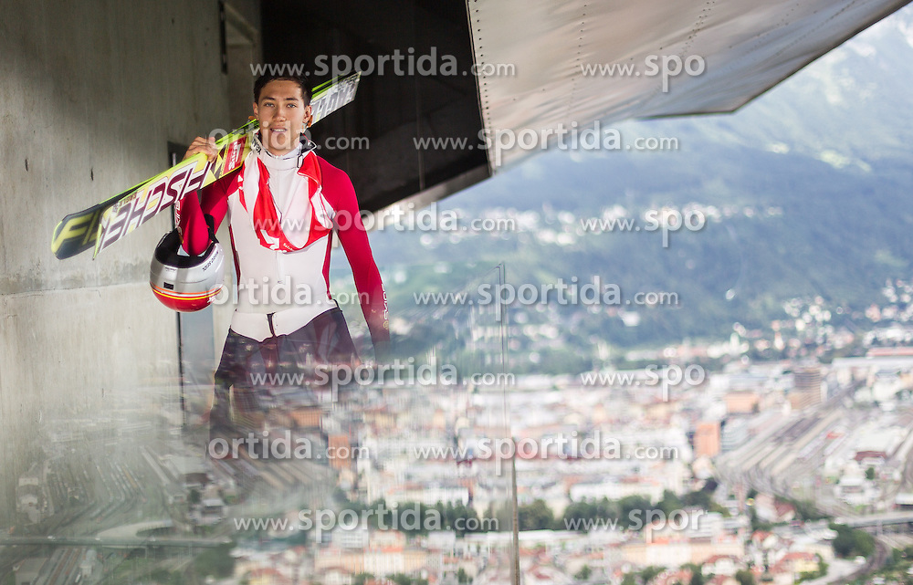 04.08.2014, Bergisel Schanze, Innsbruck, AUT, OeSV, Nordische Kombination, Medientag, im Bild Mario Seidl (AUT) // Mario Seidl (AUT) during the Austrian Skifederation Nordic Combined Media Day at ther Bergisel Hill, Innsbruck, Austria on 2014/08/04. EXPA Pictures © 2014, PhotoCredit: EXPA/ JFK
