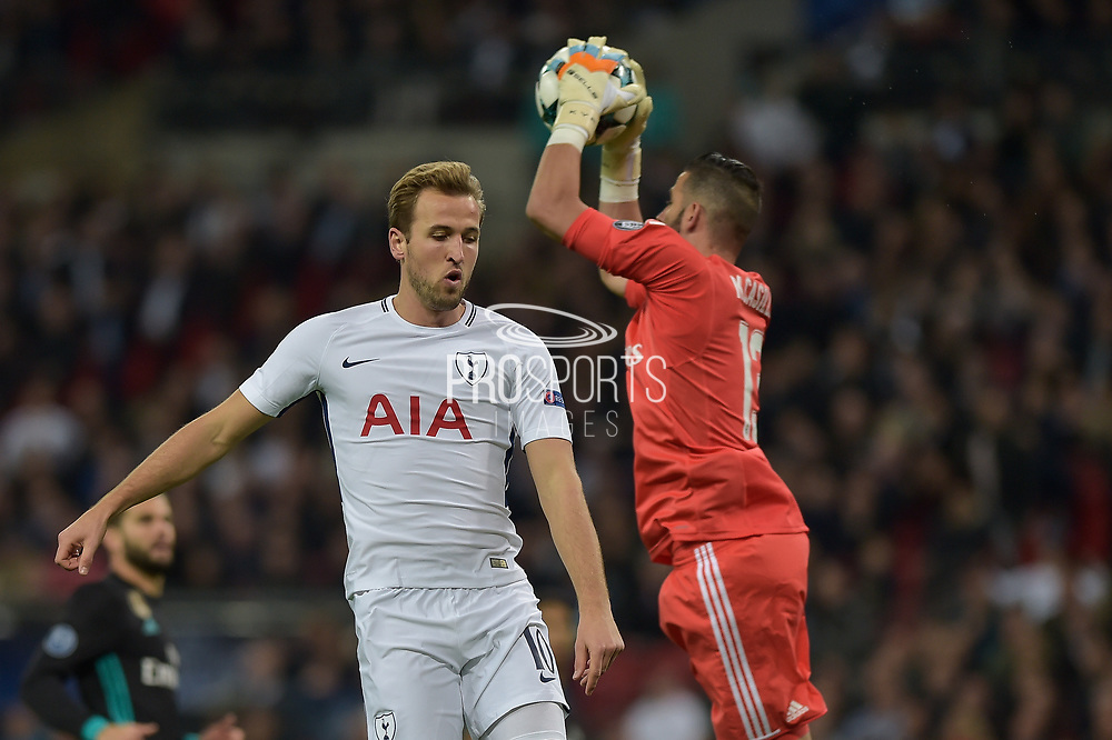 Real Madrid Goalkeeper, Kiko Casilla (13) beats Tottenham Hotspur Forward, Harry Kane (10) to the ball during the Champions League match between Tottenham Hotspur and Real Madrid at Wembley Stadium, London, England on 1 November 2017. Photo by Adam Rivers.