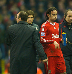 LIVERPOOL, ENGLAND - Wednesday, January 20, 2010: Liverpool's Alberto Aquilani is substituted by manager Rafael Benitez during the Premiership match against Tottenham Hotspur at Anfield. (Photo by: David Rawcliffe/Propaganda)