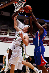 Nov 14, 2011; Stanford CA, USA;  Southern Methodist Mustangs forward Robert Nyakundi (24) grabs a rebound in front of Colorado State Rams forward Pierce Hornung (4) during the first half of a preseason NIT game at Maples Pavilion. Colorado State defeated Southern Methodist 75-56. Mandatory Credit: Jason O. Watson-US PRESSWIRE