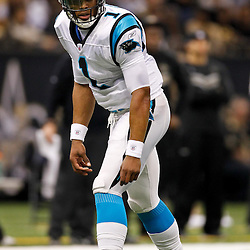 January 1, 2012; New Orleans, LA, USA; Carolina Panthers quarterback Cam Newton (1) line up as a wide receiver against the New Orleans Saints during the first half of a game at the Mercedes-Benz Superdome. Mandatory Credit: Derick E. Hingle-US PRESSWIRE