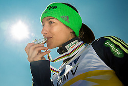 Third placed in Overall World Cup women classification Maja Vtic (SLO) posing after the trophy ceremony after Ski Flying Hill Individual Competition at Day 4 of FIS Ski Jumping World Cup Final 2016, on March 20, 2016 in Planica, Slovenia. Photo by Vid Ponikvar / Sportida