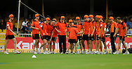 Team Perth Scorchers listen to a team member during a practice session before the start of match 4 of the Karbonn Smart Champions League T20 (CLT20) 2013  between The Highveld Lions and the Perth Scorchers held at the Sardar Patel Stadium, Ahmedabad on the 23rd September 2013<br /> <br /> Photo by Pal PIllai-CLT20-SPORTZPICS  <br /> <br /> Use of this image is subject to the terms and conditions as outlined by the CLT20. These terms can be found by following this link:<br /> <br /> http://sportzpics.photoshelter.com/image/I0000NmDchxxGVv4