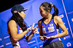 Miho Nonaka and Akiyo Noguchi of Japan during Women's combined Final at the IFSC Climbing World Championships Innsbruck 2018, on September 16, 2018 in OlympiaWorld Innsbruck, Austria, Slovenia. Photo by Urban Urbanc / Sportida
