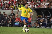Brazil midfielder Allan (15) during an international friendly soccer match against Peru, Tuesday, Sept. 10, 2019, in Los Angeles. Peru defeated Brazil 1-0.