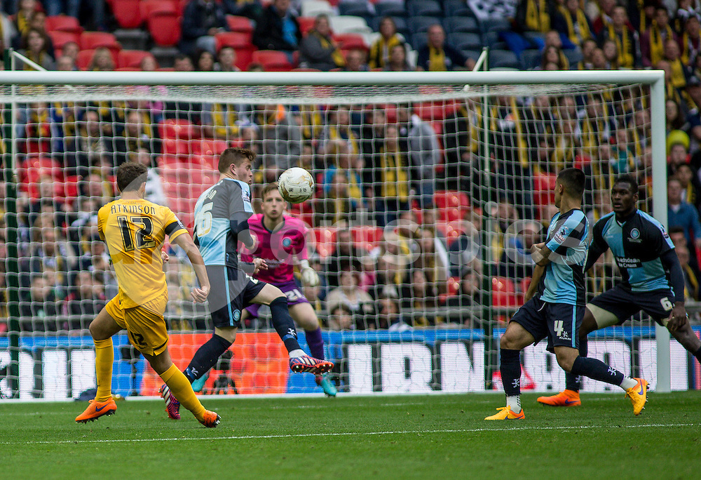Will Atkinson of Southend United shoots during the Sky Bet League 2 Play-Off Final match between Southend United and Wycombe Wanderers at Wembley Stadium, London, England on 23 May 2015. Photo by Liam McAvoy.