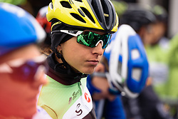Rosella Ratto has a prime spot near the front as the riders line up for the start - Pajot Hills Classic 2016, a 122km road race starting and finishing in Gooik, on March 30th, 2016 in Vlaams Brabant, Belgium.