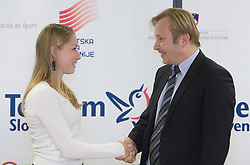 Sara Oresnik and Peter Kukovica when Slovenian athletes and their coaches sign contracts with Athletic federation of Slovenia for year 2009,  in AZS, Ljubljana, Slovenia, on March 2, 2009. (Photo by Vid Ponikvar / Sportida)