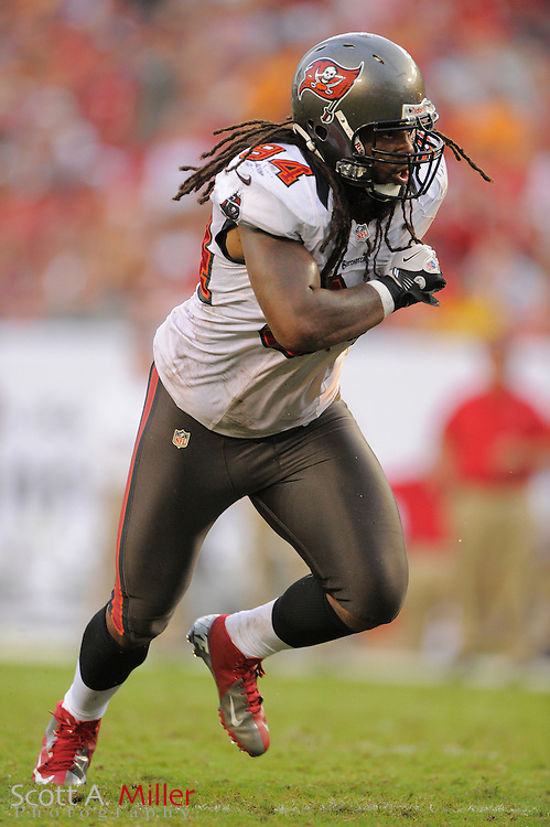 Tampa Bay Buccaneers defensive end Adrian Clayborn (94) during the Bucs game against the Carolina Panthers at Raymond James Stadium  on September 9, 2012 in Tampa, Florida.  The Bucs won 16-10..©2012 Scott A. Miller...