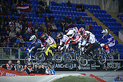 Elite Men's First Jump Making air on the Final Race of the Day BMX World Cup Finals at  at the Manchester Arena, Manchester, United Kingdom on 19 April 2015. Photo by Charlotte Graham.