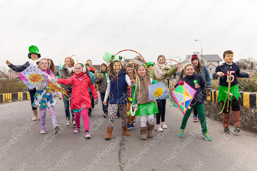 Members of the Cracked Spoon Dancing group from Moyasta NS dancing in the 2015 Doonbeg St. Patrick's day Parade
