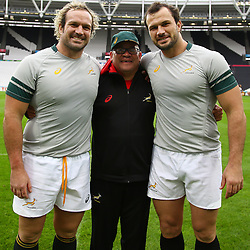 LONDON, ENGLAND - OCTOBER 29: Jannie du Plessis with Charles Wessels (Operational Head) and Bismarck du Plessis during the South African national rugby team Captains Run and Media Conference at Olympic Stadium on October 29, 2015 in London, England. (Photo by Steve Haag/Gallo Images)