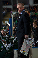 KELOWNA, CANADA - JANUARY 22: Head coach Kevin Constantine of the Everett Silvertips stands on the bench against the Kelowna Rockets on January 22, 2014 at Prospera Place in Kelowna, British Columbia, Canada.   (Photo by Marissa Baecker/Getty Images)  *** Local Caption *** Kevin Constantine;