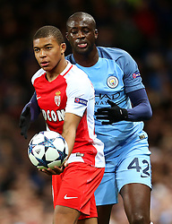 Yaya Toure of Manchester City grabs the ball from Kylian Mbappe of Monaco - Mandatory by-line: Matt McNulty/JMP - 21/02/2017 - FOOTBALL - Etihad Stadium - Manchester, England - Manchester City v AS Monaco - UEFA Champions League - Round of 16 First Leg
