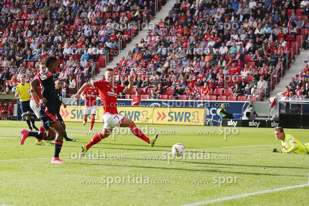 26.09.2015, Coface Arena, Mainz, GER, 1. FBL, 1. FSV Mainz 05 vs FC Bayern Muenchen, 7. Runde, im Bild Kingsley Coman (FC Bayern Muenche #29) mit dem Tor zum 3:0 // during the German Bundesliga 7th round match between 1. FSV Mainz 05 and FC Bayern Munich at the Coface Arena in Mainz, Germany on 2015/09/26. EXPA Pictures &copy; 2015, PhotoCredit: EXPA/ Eibner-Pressefoto/ Schueler<br /> <br /> *****ATTENTION - OUT of GER*****