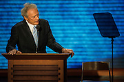 CAPTION- August 30, 2012 Clint Eastwood addresses an empty chair which is supposed to be President Obama during the Republican National Convention in Tampa, FL.  (Matt Roth/Freelance for POLITICO)