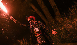 24.05.2015, Red Bull Arena, Salzburg, AUT, 1.FBL, FC Red Bull Salzburg Meisterfeier, im Bild ein Fan feiert mit einer bengalischen Fackel // during the Austrian Football Bundesliga Championsship Celebration at the Red Bull Arena, Salzburg, Austria on 2015/05/24. EXPA Pictures © 2015, PhotoCredit: EXPA/ JFK