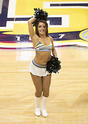 October 10, 2017 - Denver, Colorado, U.S - A Denver Nuggets Dancer entertains the crowd during the 1st. Half at Pepsi Center Tues. night. Nuggets lose to the Thunder 96-86. (Credit Image: © Hector Acevedo via ZUMA Wire)