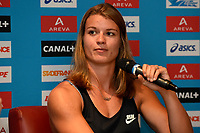 Dafne Schippers of Netherlands answers questions during the Press Conference of the Diamond league, Meeting Areva 2015, at Mercure Paris Centre Eiffel, Paris, France, on July 3, 2015 - Photo Jean-Marie Hervio / KMSP / DPPI
