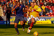 Uche Ikpeazu of Hearts with a handful of Charles Dunne of Motherwell shirt during the Ladbrokes Scottish Premiership match between Motherwell and Heart of Midlothian at Fir Park, Motherwell, Scotland on 17 February 2019.