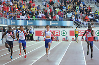 ATHLETICS - EUROPEAN CHAMPIONSHIPS 2012 - HELSINKI (FIN) - DAY 2 - 28/06/2012 - PHOTO STEPHANE KEMPINAIRE / KMSP / DPPI - <br /> 100 M - MEN - FINAL - WINNER - GOLD MEDAL - CHRISTOPHE LEMAITRE (FRA) - SECOND PLACE - SILVER MEDAL - JIMMY VICAUT (FRA)