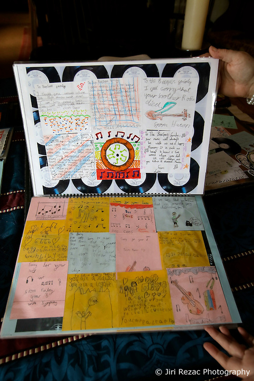UK ENGLAND THAME 27AUG14 - Detail view of a collage book made by pupils at the school where deceased Bee Gees singer Robin Gibb used to study, on display at his home in Thame, Oxfordshire.<br /> <br /> jre/Photo by Jiri Rezac<br /> <br /> &copy; Jiri Rezac 2014
