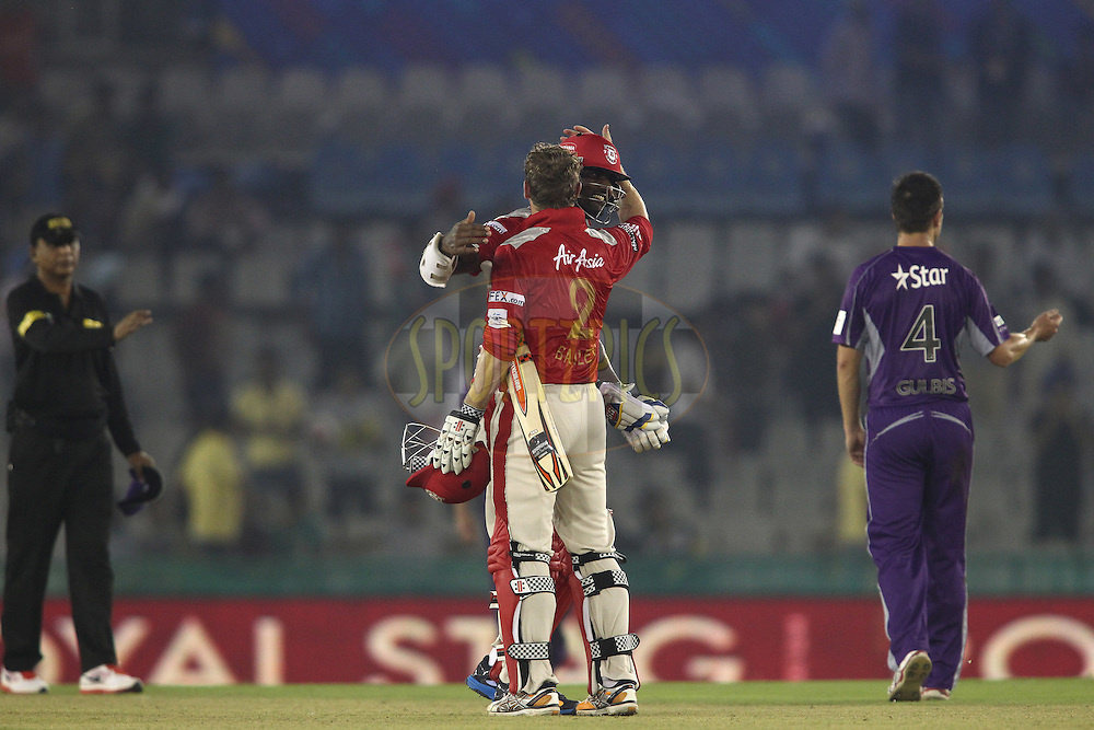 Thisara Perera of the Kings XI Punjab and Kings XI Punjab captain George Bailey celebrate beating Hobart Hurricanes during match 2 of the Oppo Champions League Twenty20 between the Kings XI Punjab and the Hobart Hurricanes held at the Punjab Cricket Association Stadium, Mohali, India on the 18th September 2014<br /> <br /> Photo by:  Shaun Roy / Sportzpics/ CLT20<br /> <br /> <br /> Image use is subject to the terms and conditions as laid out by the BCCI/ CLT20.  The terms and conditions can be downloaded here:<br /> <br /> http://sportzpics.photoshelter.com/gallery/CLT20-Image-Terms-and-Conditions-2014/G0000IfNJn535VPU/C0000QhhKadWcjYs