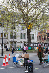 London, UK. 18th April 2019. A climate change activist from Extinction Rebellion in a hammock high up in a large tree above Parliament Square, connected by a rope to another man in a coffin used as a roadblock below, on the fourth day of the International Rebellion to call on the British government to take urgent action to combat climate change.