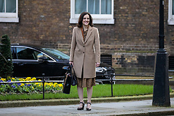 © Licensed to London News Pictures. 11/02/2020. London, UK. Environment, Food and Rural Affairs Secretary Theresa Villiers arriving in Downing Street to attend a Cabinet meeting this morning. An announcement on the high speed rail line 'HS2' is expected today.  Photo credit : Tom Nicholson/LNP
