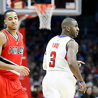 09 November 2016: Los Angeles Clippers guard Chris Paul (3) celebrates next to Portland Trail Blazers guard C.J. McCollum (3) during the LA Clippers 111-80 victory over the Portland Trail Blazers, at the Staples Center, Los Angeles, California, USA.