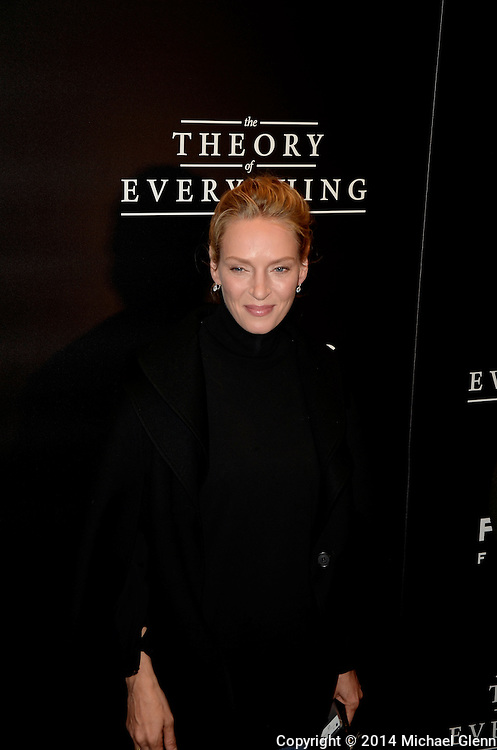 NYC, New York - October 20: Uma Thurman on the red carpet for their new motion picture The Theory of Everything at Museum of Modern Art MOMA on October 20, 2014 in New York, New York. Photo Credit: Michael Glenn / Retna Ltd