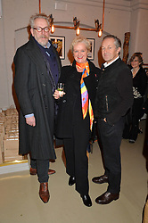 Left to right, MICHAEL HOWELLS, KITTY ARDEN and NICK ASHLEY at the launch of the Private White VC flagship store, 73 Duke Street, London on 11th December 2014.
