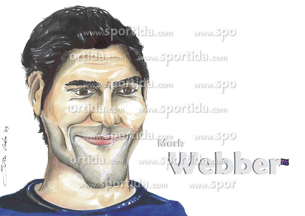 FORMEL 1: Saison 2010, Karrikatur von<br /> Mark WEBBER (AUS, Red Bull)<br /> &Atilde;'&Acirc;&copy; pixathlon