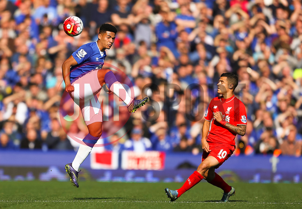Tyias Browning of Everton and Philippe Coutinho of Liverpool   - Mandatory byline: Matt McNulty/JMP - 07966 386802 - 04/10/2015 - FOOTBALL - Goodison Park - Liverpool, England - Everton  v Liverpool - Barclays Premier League