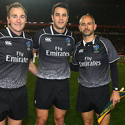 Assistant Referee Glen Jackson (NZ) with Referee:Ben O'Keeffe (NZ) and Assistant Referee Romain Poste (France) during the 2018 Castle Lager Incoming Series 1st Test match between South Africa and England at Emirates Airline Park,<br /> Johannesburg.South Africa. 09,06,2018 Photo by (Steve Haag Sports)