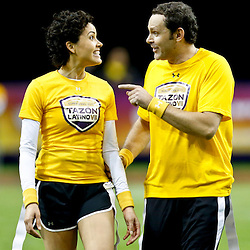 Jan 31, 2013; New Orleans, LA, USA; AFC squad Susie Castillo and Alan Tacher discuss a play during the Tazon Latino VII flag football game at Clinic Field  inside the Ernest Morial Convention center against the NFC squad. Super Bowl XLVII will take place between the San Francisco 49ers and the Baltimore Ravens on February 3, 2013 at the Mercedes-Benz Superdome.  Mandatory Credit: Derick E. Hingle-USA TODAY Sports