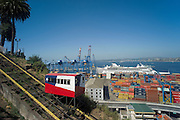 Elevator with port behind, cruise ship at dock with containers, Valparaiso, Chile
