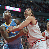 08 November 2010:  Denver Nuggets' point forward #7 Al Harrington fights for the rebound against Chicago Bulls' center #13 Joakim Noah during the Chicago Bulls 94-92 victory over the Denver Nuggets at the United Center, in Chicago, Illinois, USA.