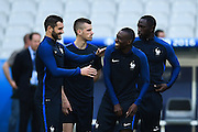 PARIS, FRANCE - JUNE 09: (CHINA OUT) <br /> <br /> Andre Gignac (L) and Blaise Matuidi (R2) of France attend a training session on the eve of the beginning of the Euro 2016 European football championships football match against Romania at Stade de France stadium on June 9, 2016 in Saint-Denis near Paris, France.<br /> ©Exclusivepix Media