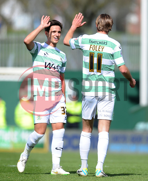 Yeovil Town's Liam Sheppard and Yeovil Town's Sam Foley celebrates his sides goal scored by Haydn Hollis of Notts County- Photo mandatory by-line: Harry Trump/JMP - Mobile: 07966 386802 - 11/04/15 - SPORT - FOOTBALL - Sky Bet League One - Yeovil Town v Notts County - Huish Park, Yeovil, England.