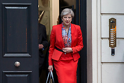 Prime Minister Theresa May leaves Conservative Party HQ in Westminster, London, as her future as Prime Minister and leader of the Conservatives was being openly questioned after her decision to hold a snap election disastrously backfired.